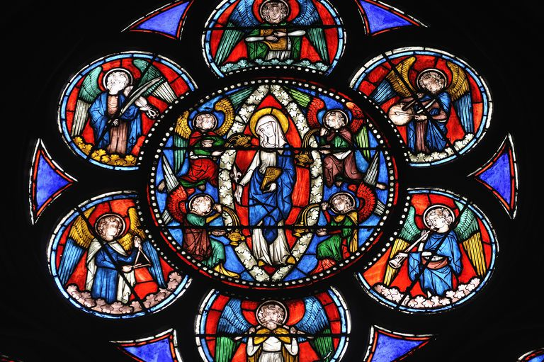 Stained Glass panel, characteristic of Gothic storytelling, Notre Dame cathedral, Paris, France