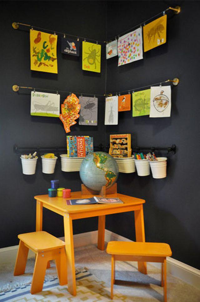 Kid's art corner with art display