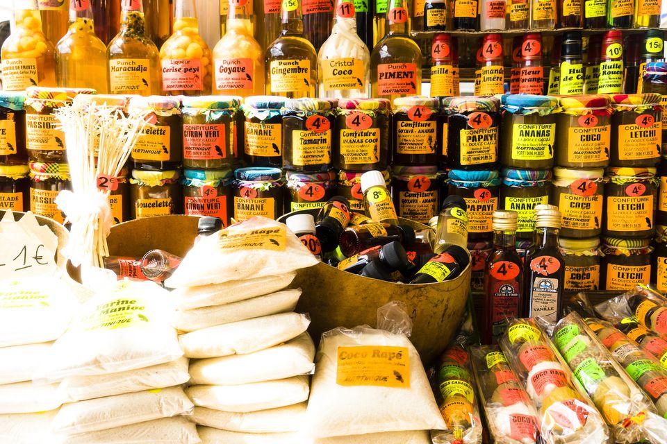 Local products : jam, rhum...aint-Pierre, Martinique, France