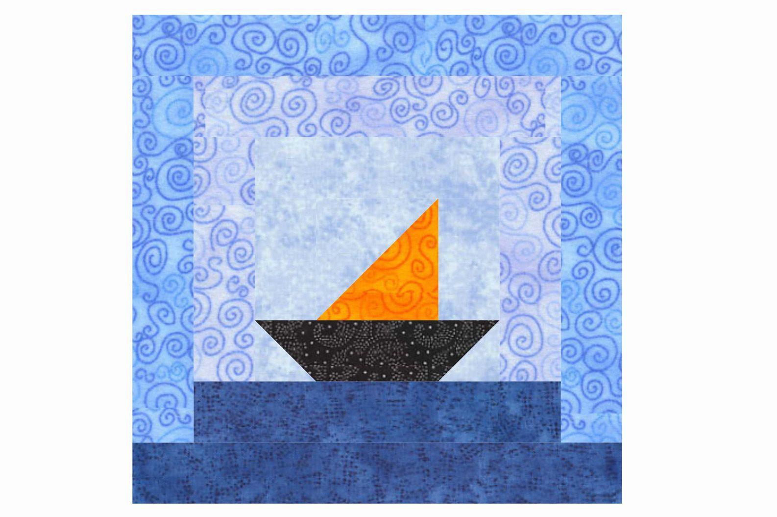 Sailboat Log Cabin Quilt Block Pattern
