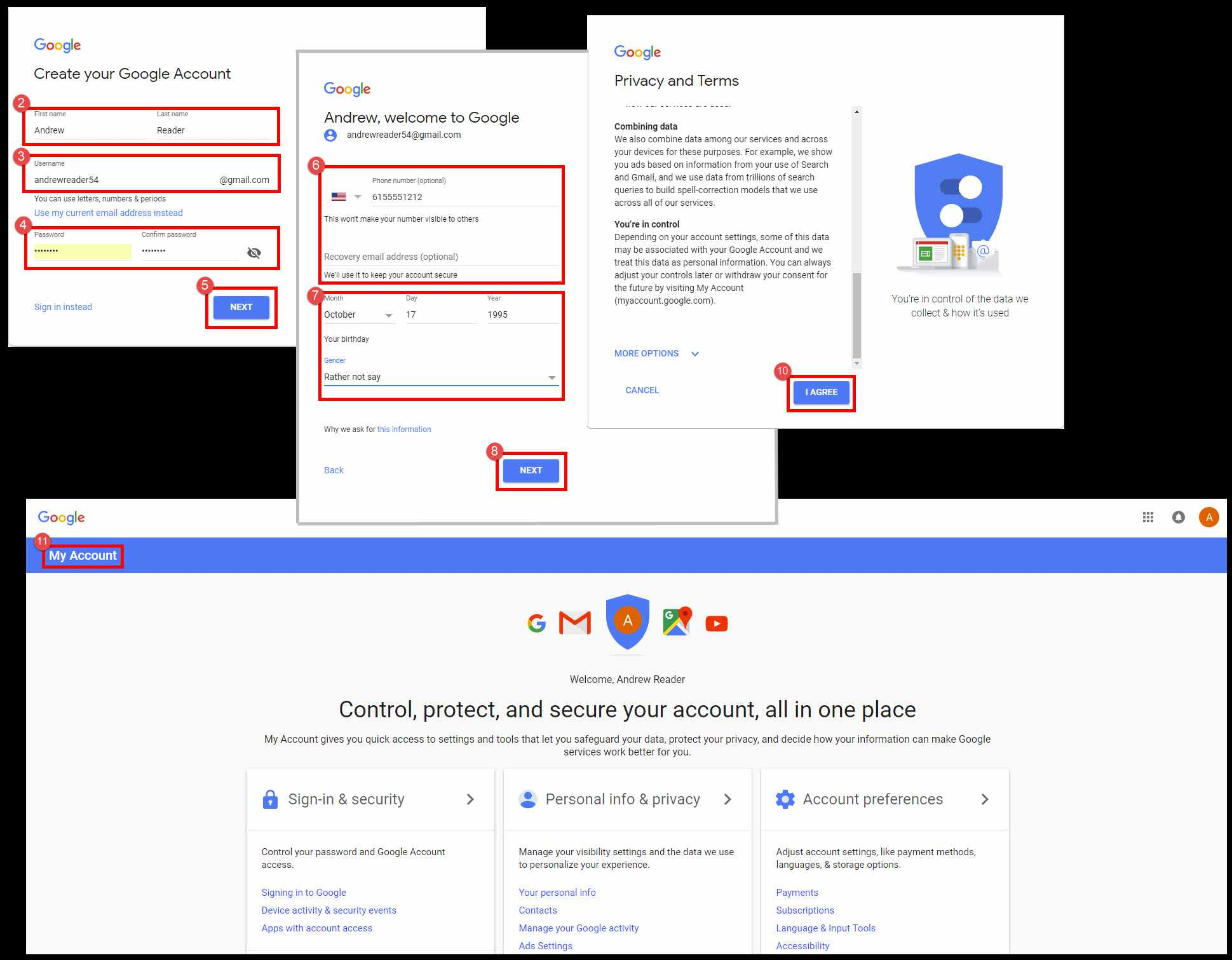 Screenshots of the steps needed to create a Gmail account.