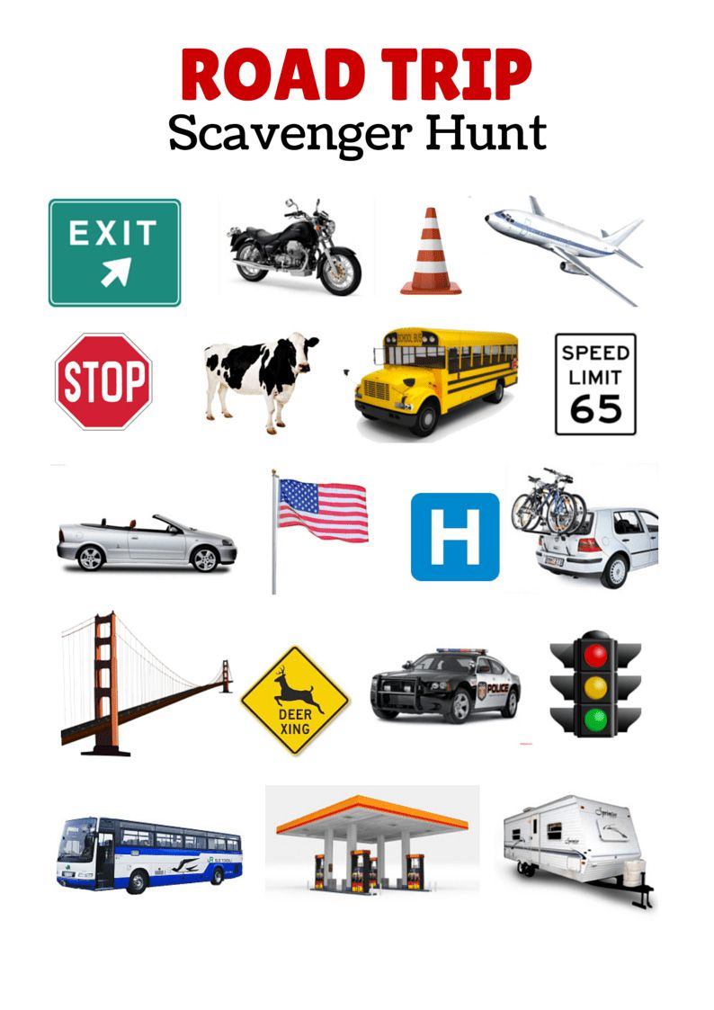 Free printable travel games for kids road trip scavenger hunt robcynllc Images