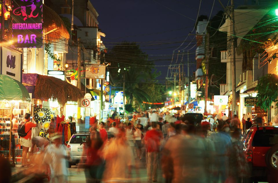 Mexico, Quintana Roo, Playa del Carmen, Pedestrian mall, evening