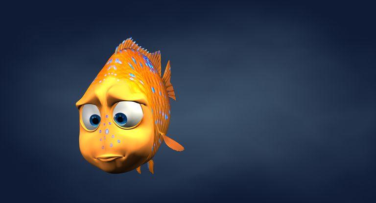 Garibaldi fish in 3d cartoon