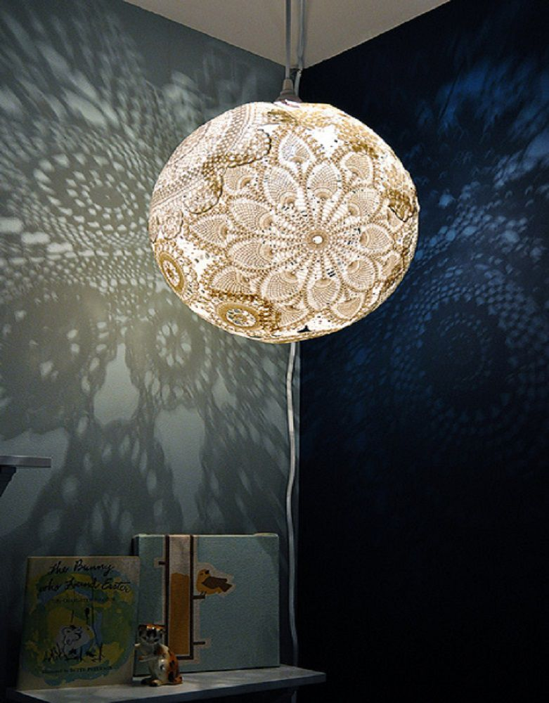 5 easy crafts to make for your bedroom for Doily light fixture