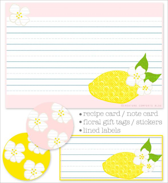 Sets Of Free Printable Recipe Cards