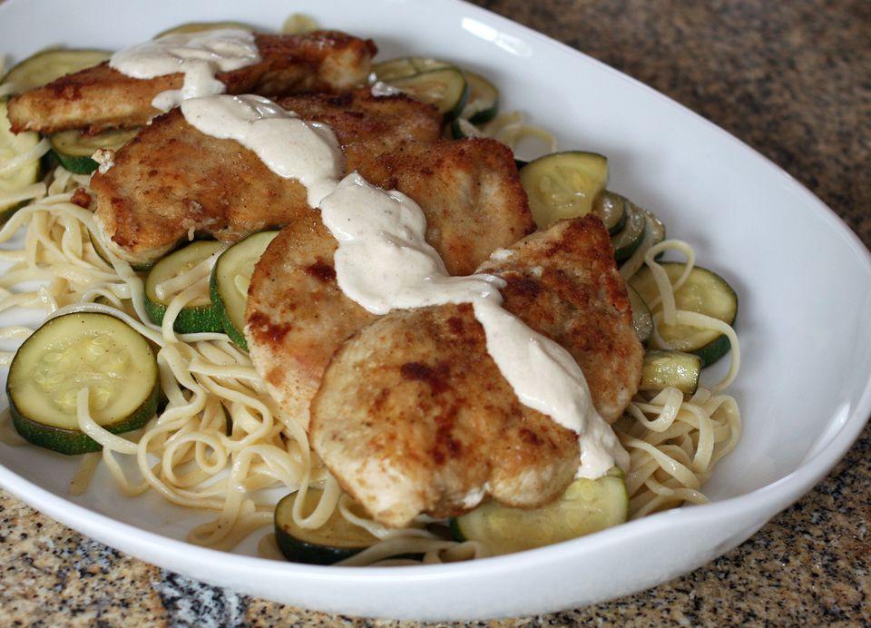 Chicken and Zucchini With Garlic Cream Sauce