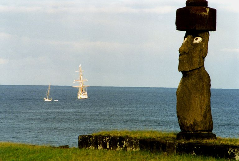 Moai with Coral Inlaid Eyes on Coast, Easter Island