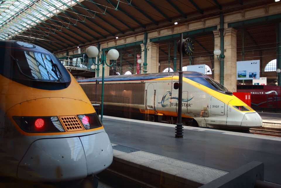 Eurostar trains in the station