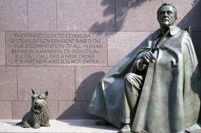 FDR Memorial in Washington, DC with images of FDR, a dog, and this inscription: They (who) seek to establish systems of government based on the regimentation of all human beings by a handful of individual rulers...call this a new order. It is not new and it is not order.