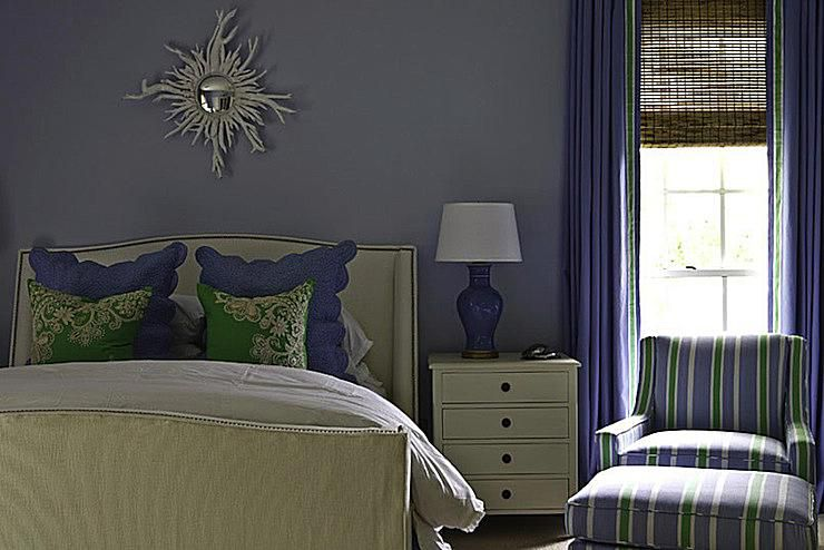 Navy Orange And Gray Bedroom