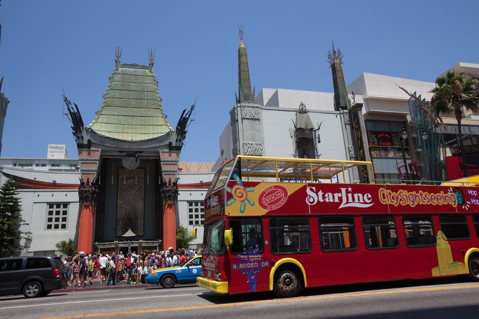 Starline Tour Bus in front of the Chinese Theatre in Hollywood