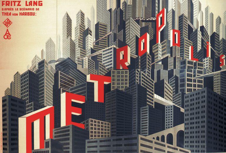 "Movie poster by Boris Konstantinovich Bilinsky of ""Metropolis"" Directed by Fritz Lang, 1926"