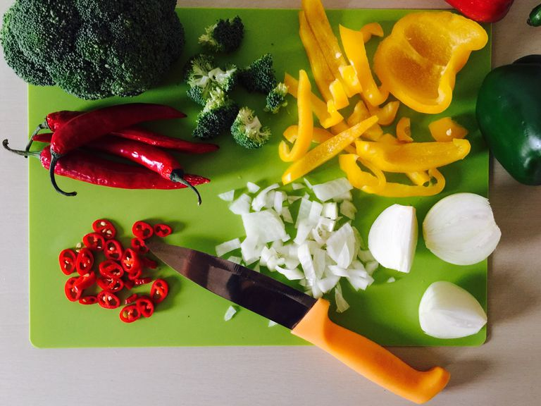 Directly Above View Of Chopped Food On Cutting Board