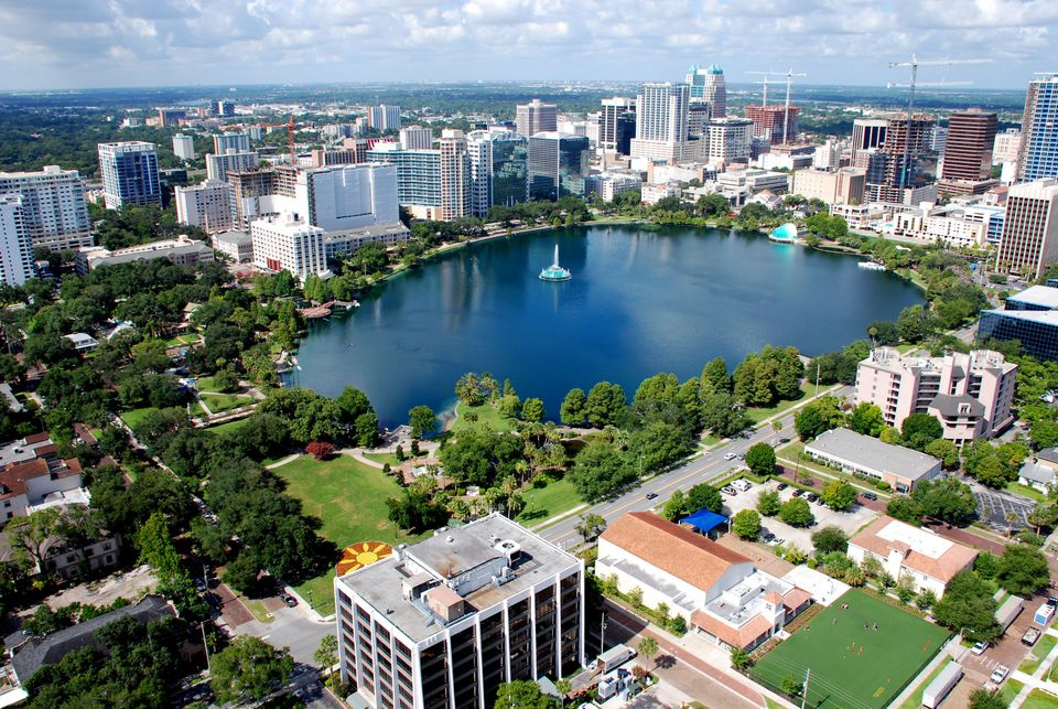 Aerial view of Downtown Orlando's Lake Eola