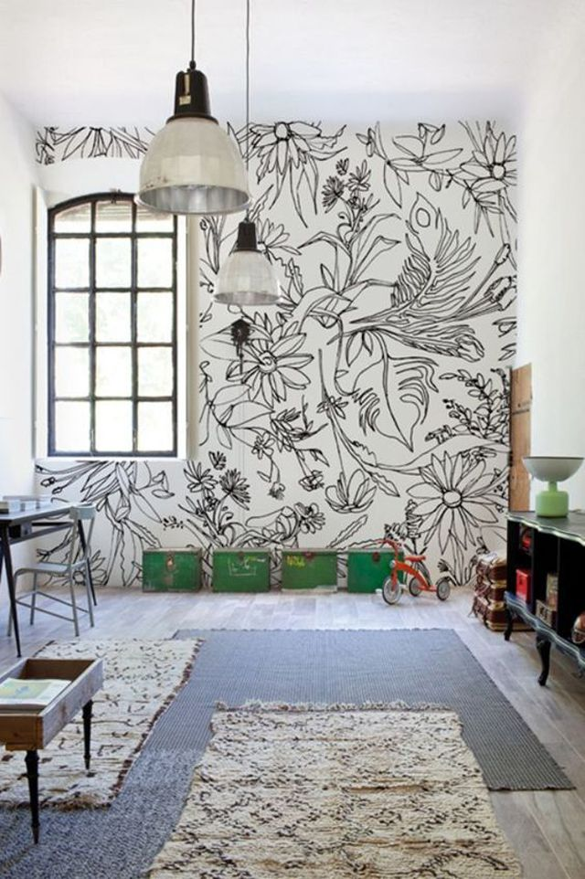 Sharpie art floral accent wall in nursery