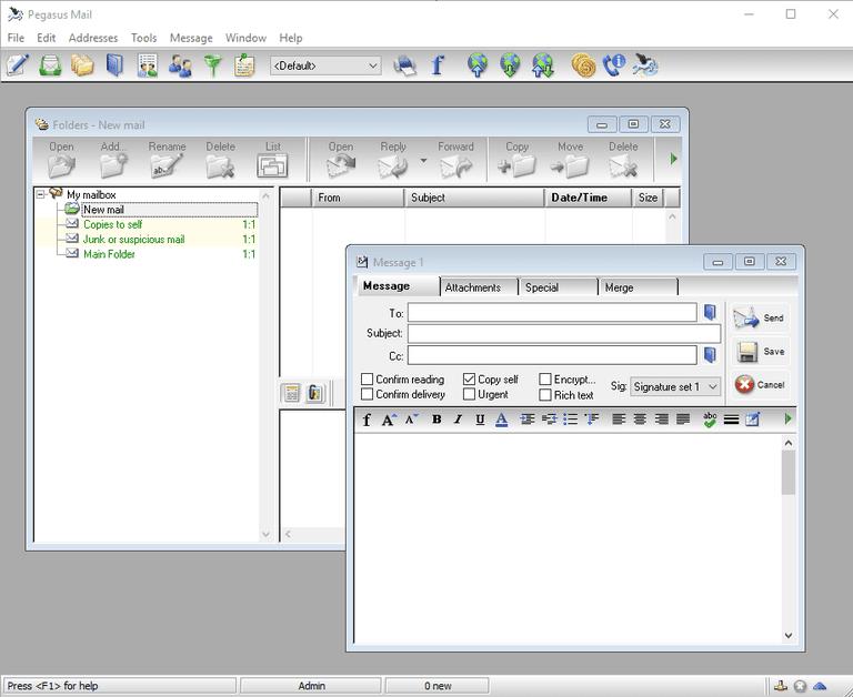 Pegasus Mail desktop view