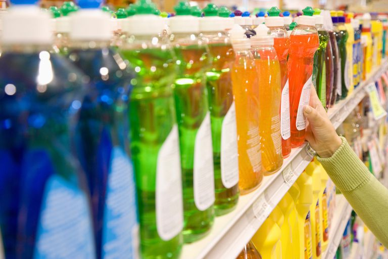 Colorful bottles of detergent