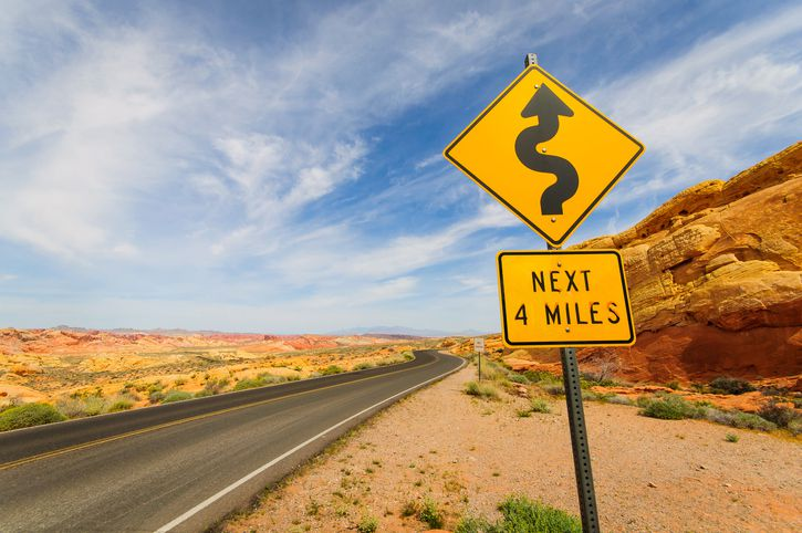 curves ahead sign