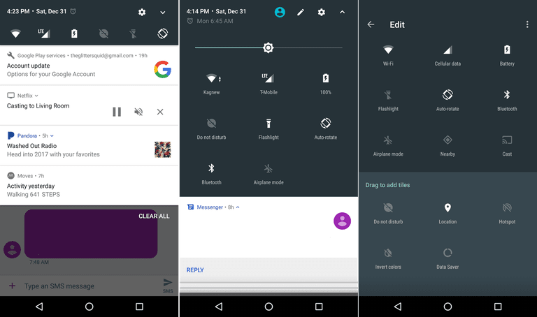 Screen Capture Android Quick Settings Menu