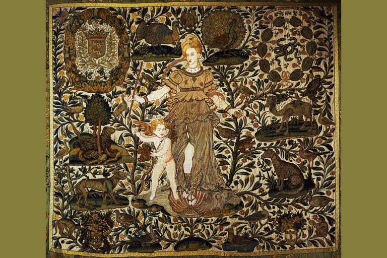 Silk embroidery, Jeanne d'Albret as Venus