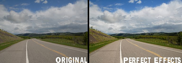 The image shows the original image on the left and the image after Perfect Effects has been applied.