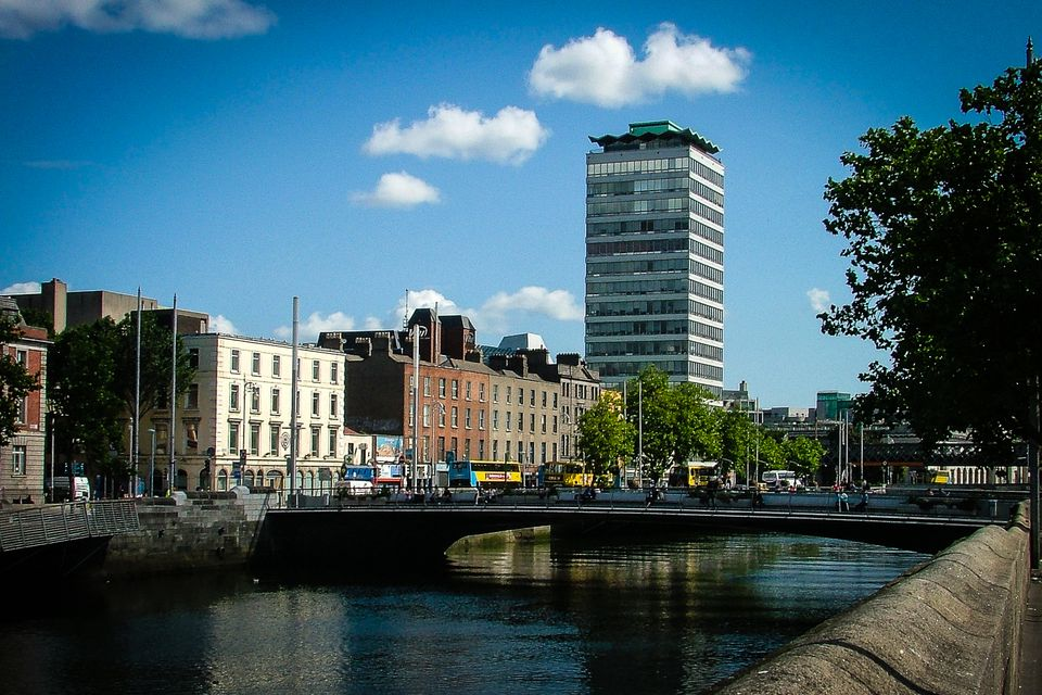 Prepare to dress for any weather when visiting Ireland - Dublin's Liberty Hall does not always bask in sunshine