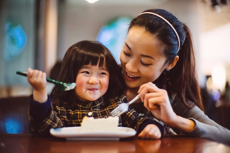 Child eating with mother
