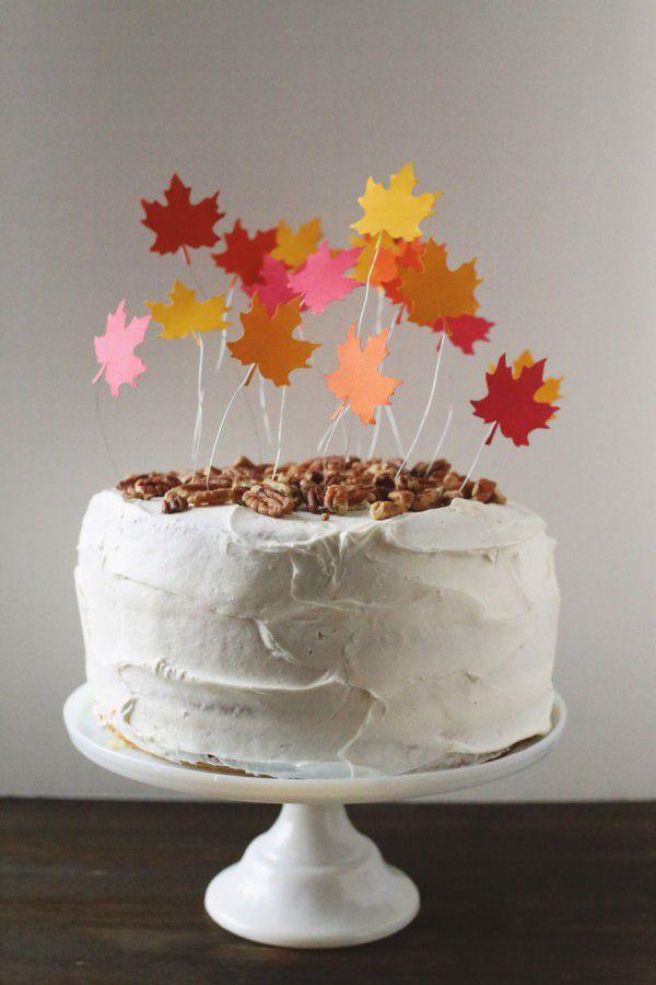 DIY Falling Leaves Cake Topper