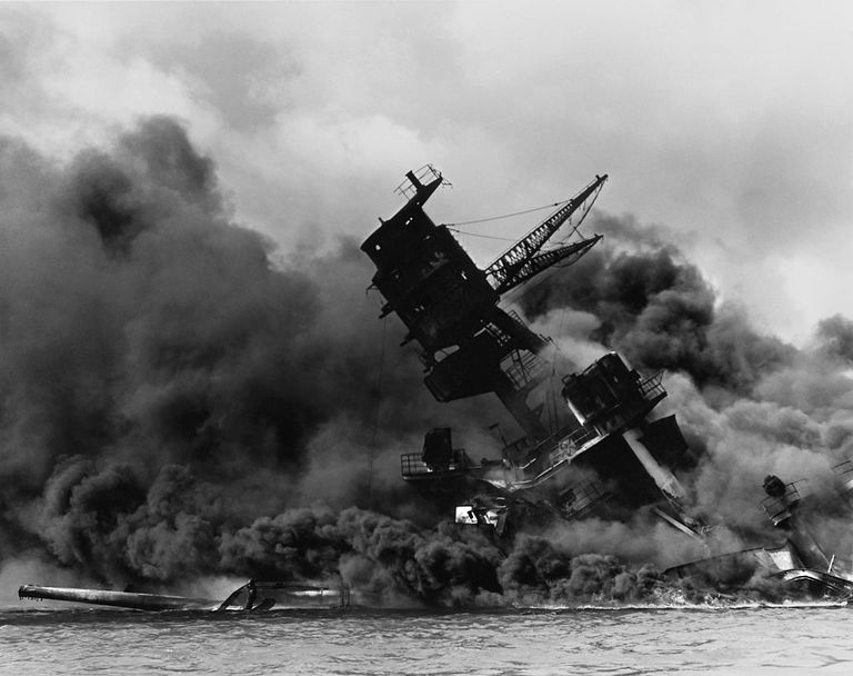 USS Arizona during the Japanese surprise air attack on the American pacific fleet, 7 December 1941