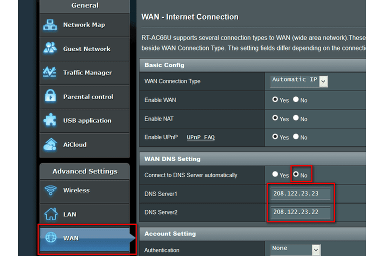 Screenshot of DNS Settings on ASUS RT-AC66U Router