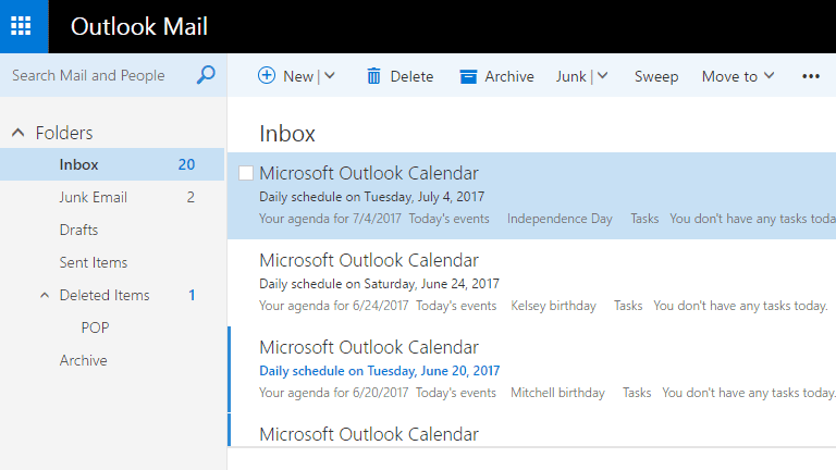 Screenshot of emails in the Outlook.com inbox folder