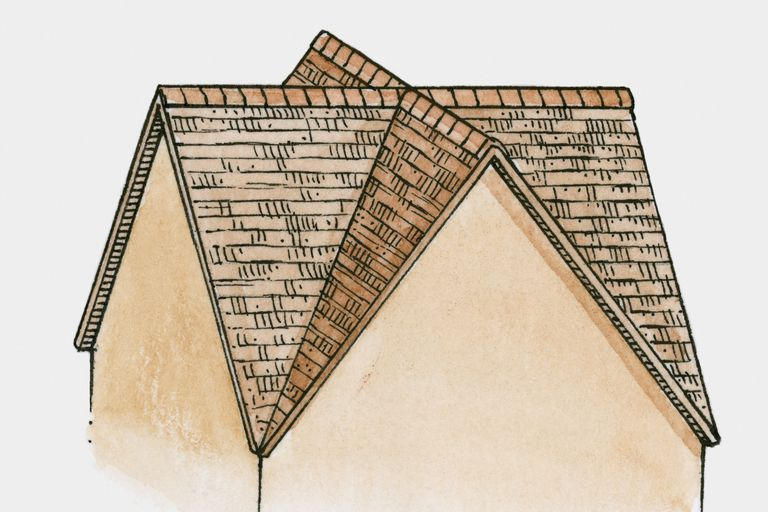Illustration of two gables, front and side, and a valley roof