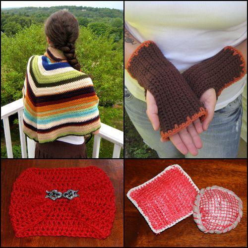 A few of our free crochet patterns: Shawl, fingerless gloves, neck warmer, scrubbies