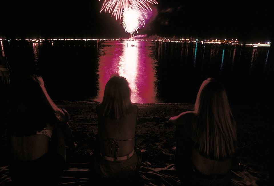 Spectators watch the Independence Day fireworks in Parker Strip, Arizona.