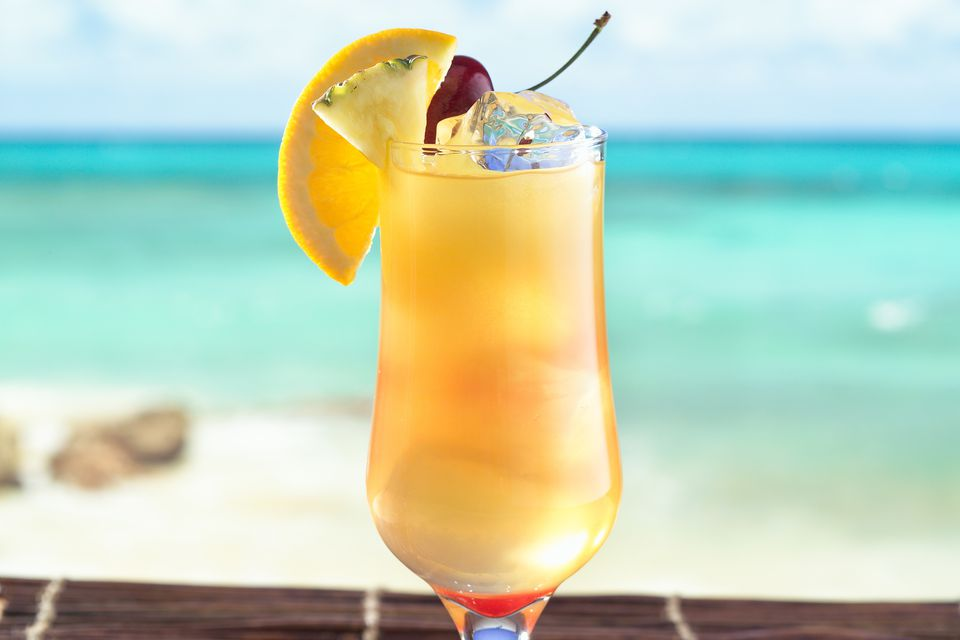 Yellow Bird Cocktail on the Beach