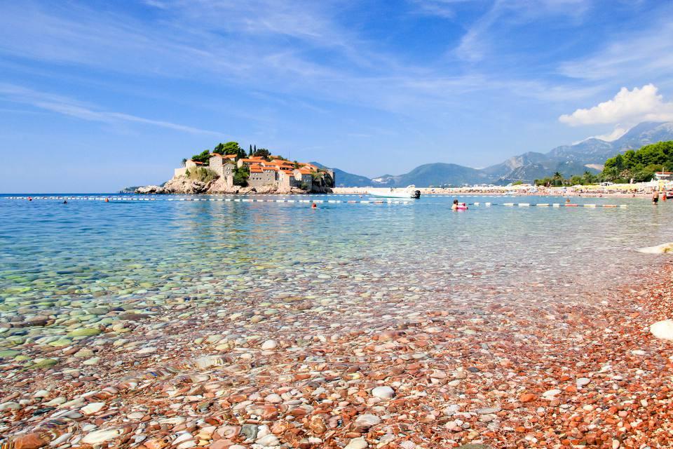 Sveti Stefan beach and island on the Adriatic sea, Montenegro