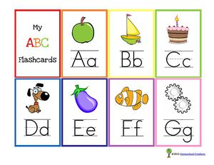 A set of A-G alphabet flash cards.