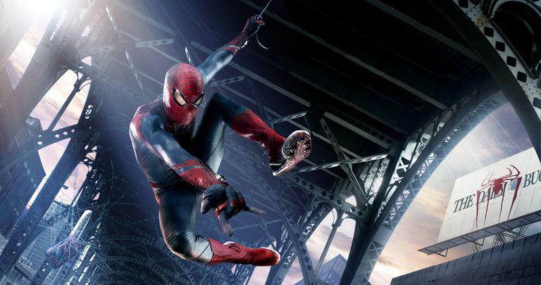Spiderman swinging from bridge