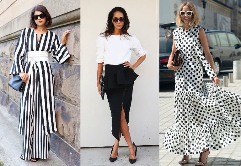 three women in black and white outfits