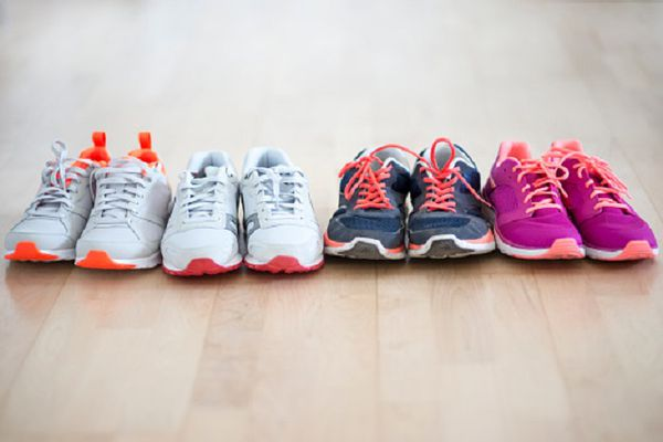 Row of four pair sneakers