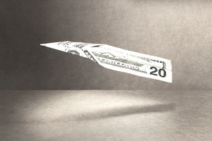 dollar paper airplane