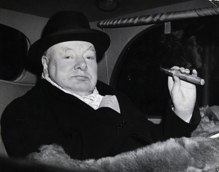 Winston Churchill in Evening Dress with Cigar, 1951