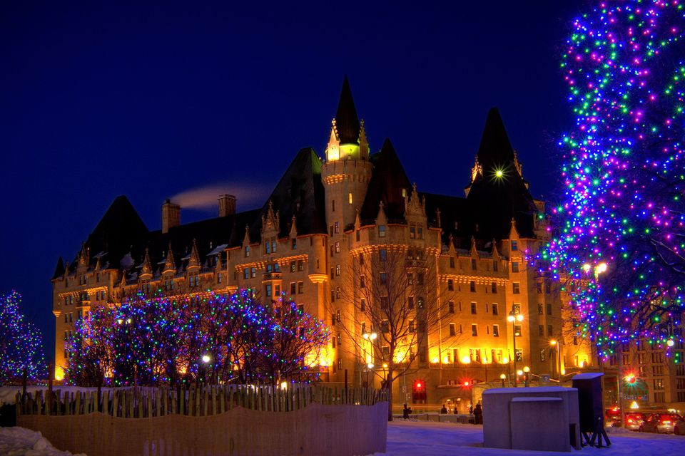 Fairmont Chateau Laurier in Ottawa during Christmas time.