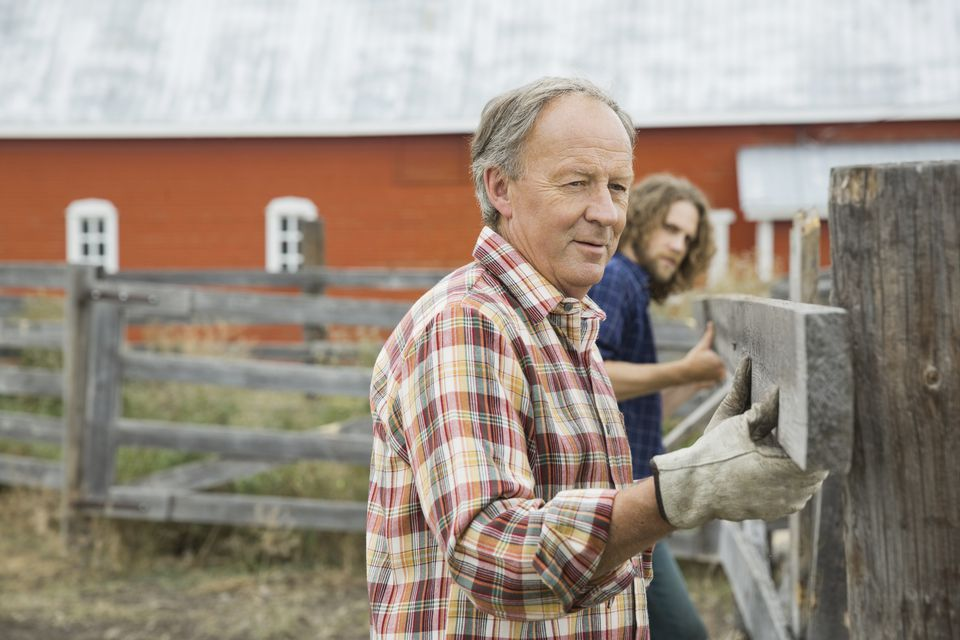 Father and son building farm fence