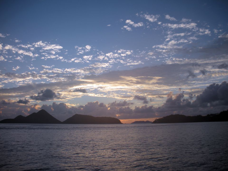 Caribbean sunset from a cruise ship