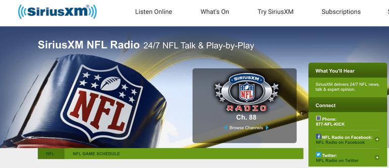SiriusXM NFL Radio Screenshot