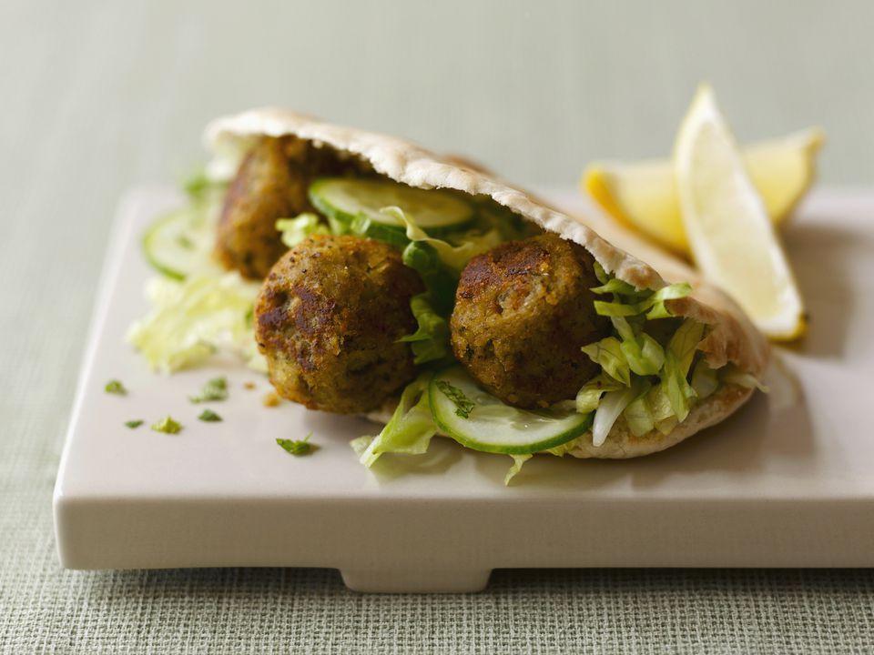 Falafel sandwich, close up