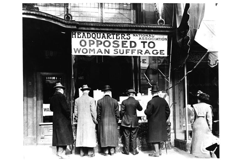Men in Front of Antisuffrage Headquarters, ca. 1915