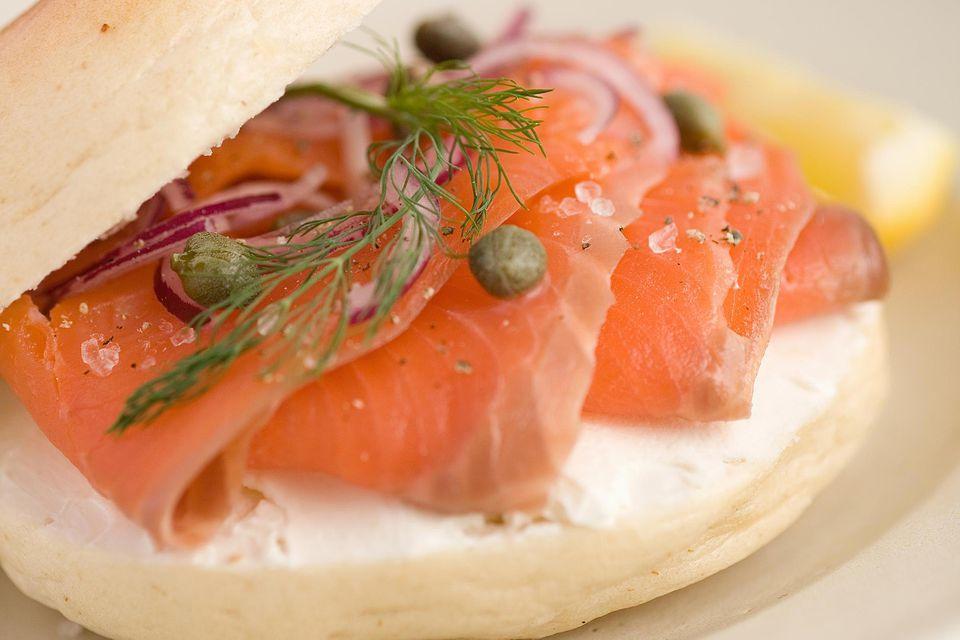 Smoked salmon and cream cheese bagel
